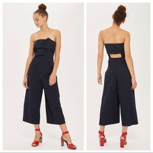 Topshop Navy Jumpsuit with Bow